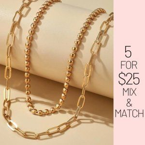 Jewelry - 5 for $25 Gold Color Two Layer Link Chain Necklace
